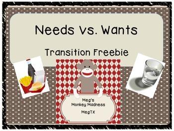 Needs vs. Wants Freebie
