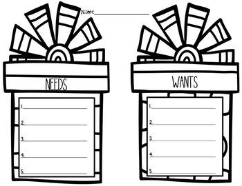 Needs vs. Wants Graphic Organizer