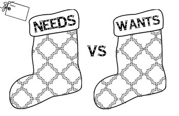 Needs vs. Wants Holiday Stocking 11x17 poster