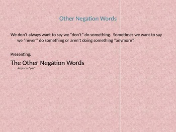 Negation Word Notes