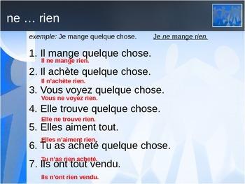 Négation in French (jamais, personne, rien) power point