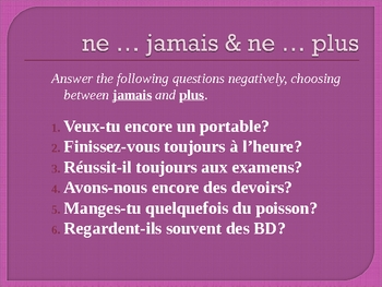 Négation in French powerpoint