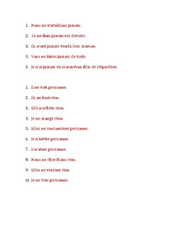 Négation in French with Jamais, Personne, Rien Worksheet 2