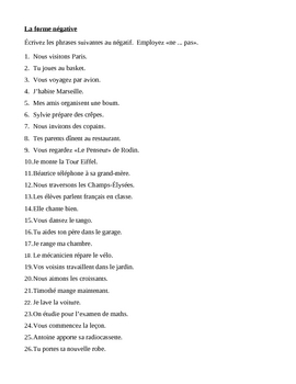 Négation in French with Pas Worksheet