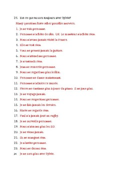 Négation in French with Jamais, Personne, Plus, Rien worksheet
