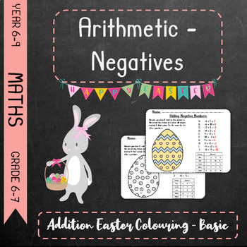 Negative Arithmetic - Addition Easter Colouring Basic