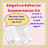 Negative Behavior Documentation Kit