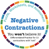 Negative Contractions! 13 Contractions with 'Not' Center, Practice, & Assessment