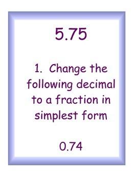 Negative Decimal Operations and Decimal/Fraction Conversion Scavenger Hunt!