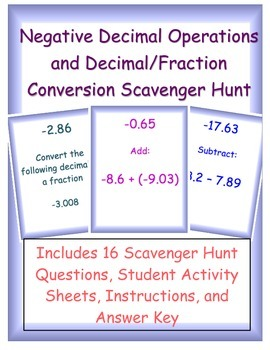 Negative Decimal Operations and Decimal/Fraction Conversio