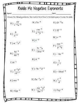 Negative Exponent Riddle Me Worksheet 8.EE.A1 by Learning Made Radical
