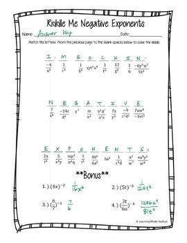 negative exponent riddle me worksheet 8 ee a1 by learning made radical. Black Bedroom Furniture Sets. Home Design Ideas