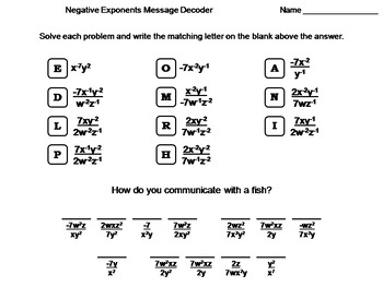 Negative Exponents Activity: Math Message Decoder