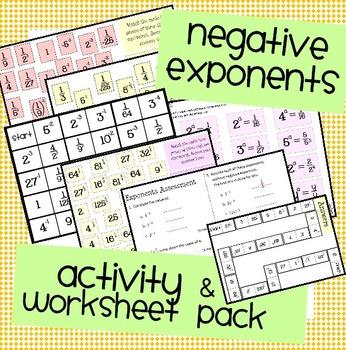 Negative Exponents Worksheet, Assessment & Activity Pack