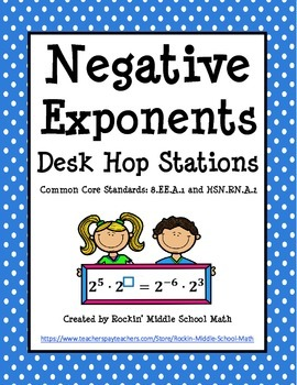 Negative Exponents Desk Hop Stations - CCSS - 8.EE.A.1 and