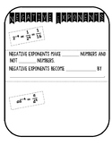 Negative Exponents Doodle Notes