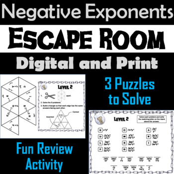 Negative Exponents Activity with Variables: Escape Room Math Activity