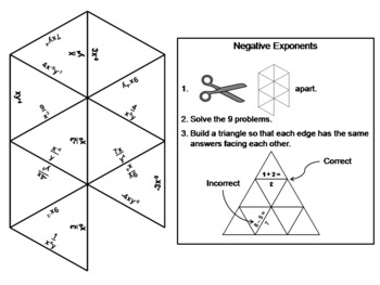 Negative Exponents Game: Math Tarsia Puzzle
