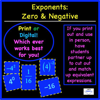 "Negative Exponents ""Partner Up Activity"""