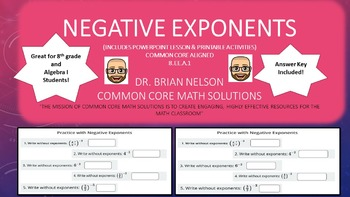 Negative Exponents - PowerPoint Lesson and Printables!