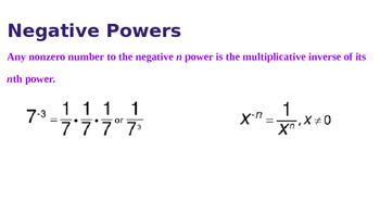Negative Exponents Powerpoint