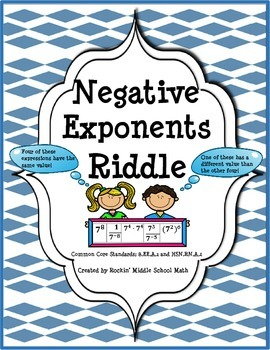 Negative Exponents Practice with Riddle-(CCSS 8.EE.A.1 and HSN.RN.A.2)
