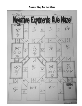 Negative Exponents Rule Maze by Math by Catherine | TpT