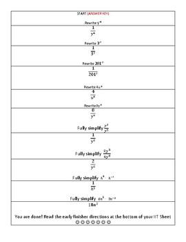 Negative Exponents (Scavenger Hunt)