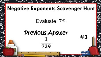 Negative Exponents Scavenger Hunt