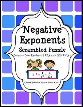 Negative Exponents Practice-Scrambled Puzzle-(CCSS 8.EE.A.