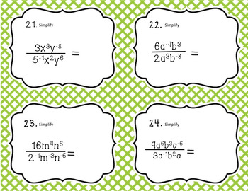 Negative Exponents Task Cards