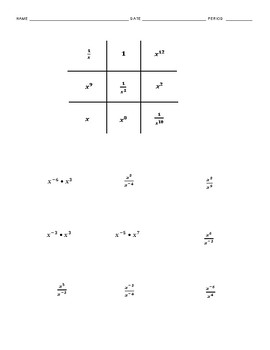 Negative Exponents Tic-Tac-Toe