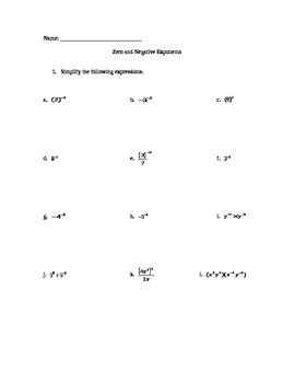 Negative Integer Exponents