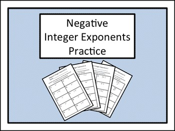 Negative Integer Exponents Practice