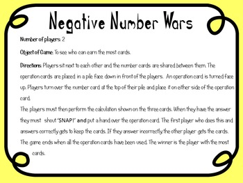 Negative Number Card Game