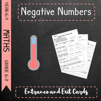 Negative Numbers - Entrance and Exit Cards / Topic Tests