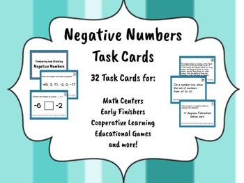 Negative Numbers Task Cards - LOW/NO PREP ACTIVITIES