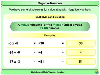 Negative Numbers for High School Math