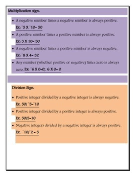 Negative/Positive integer basic operations fill in activity/ ESL/ SPED  friendly