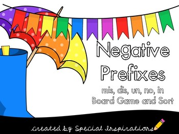 Negative Prefixes (mis, dis, un, in, non) Board Game/ Sort Literacy Centers