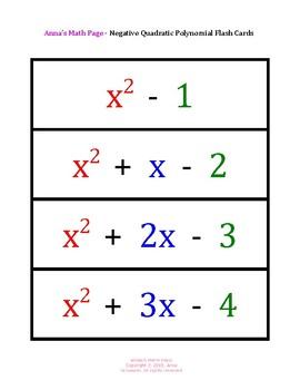 Negative Quadratic Polynomial Flash Cards