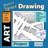 Negative Space Drawing Art Lesson for Middle or High School Art