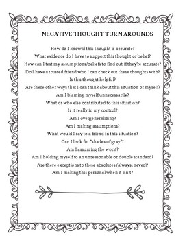 Negative Thought Turn Arounds