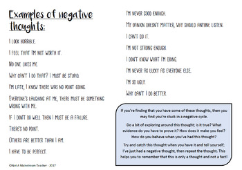 Negative Thoughts - Student CBT worksheets