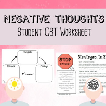 Negative Thoughts - Student CBT worksheets by Youth Intervention Centre