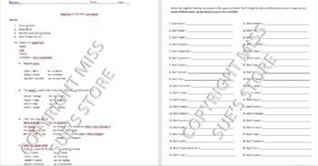 Negative Tú (familiar) Commands Notes + Practice