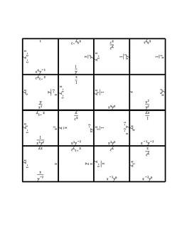 Negative & Zero Exponents Square Puzzle