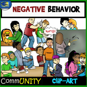 Negative and Bad Behavior CommUNITY Clip-Art -40 Pieces BW/Color