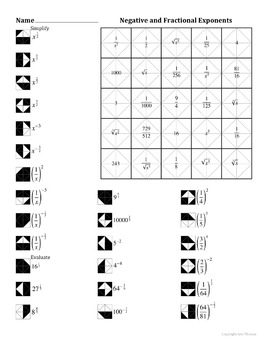 negative and fractional exponents color worksheet by aric thomas. Black Bedroom Furniture Sets. Home Design Ideas