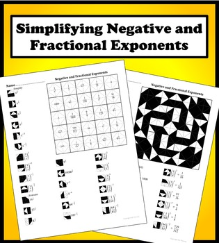 Negative and Fractional Exponents Color Worksheet